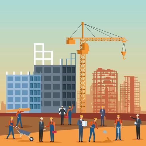 dessin animé ingénieur en construction vecteur