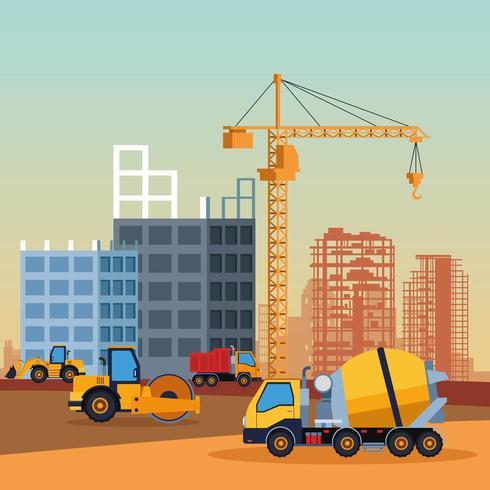 caricature de véhicules de construction vecteur