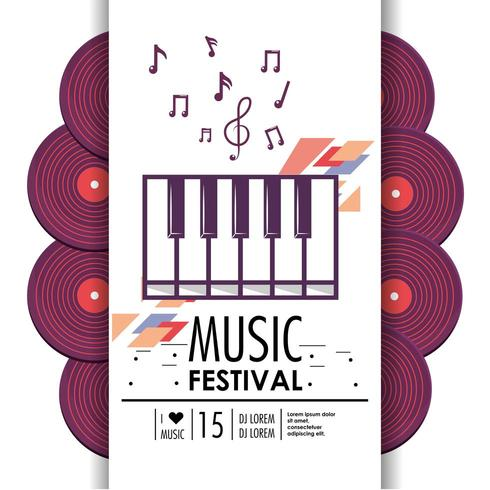 piano clavier instrument au festival de musique vecteur