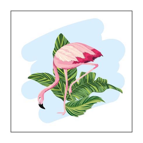 Flamant tropical avec des plantes exotiques vecteur