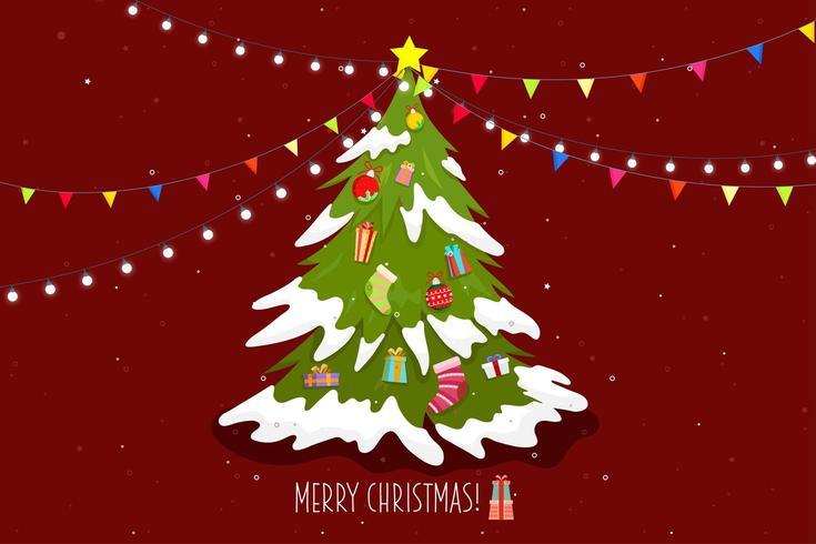 Poster joyeux noel avec arbre et boite cadeau vecteur