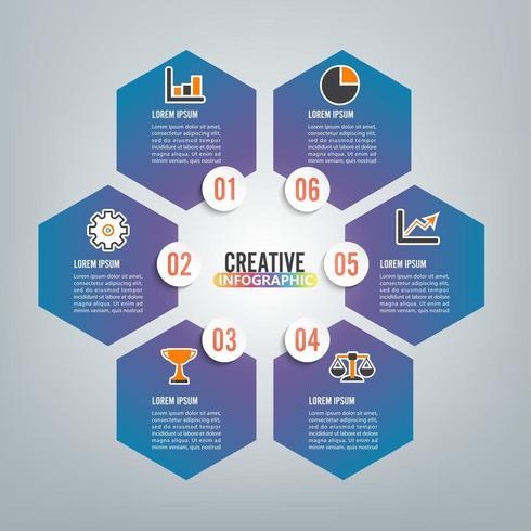 infographie 6 options vecteur