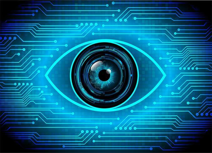 Technologie future du circuit cyber des yeux bleus vecteur