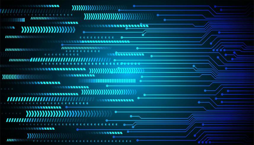 Flèche bleue cyber circuit futur concept de technologie de fond vecteur