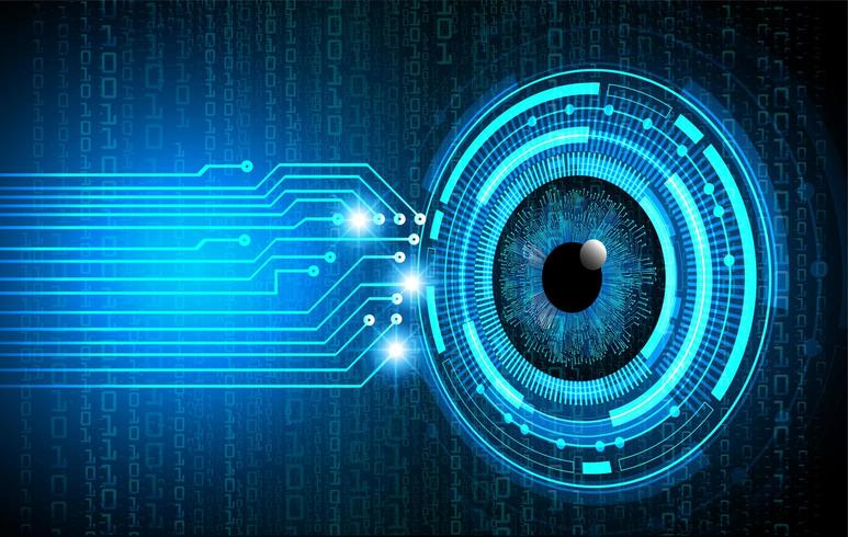 Technologie du futur du circuit électronique des yeux bleus vecteur