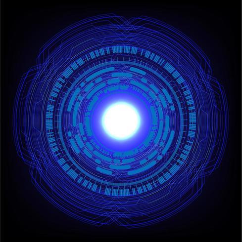 Blue hud cyber circuit futur concept technologique vecteur