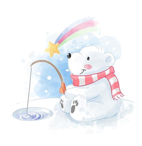 mignon, ours polaire, pêche, à, météore, illustration vecteur