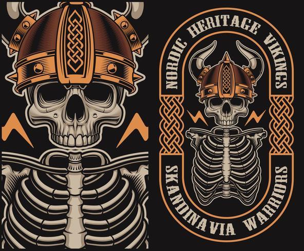 Illustration vectorielle avec un crâne viking vecteur