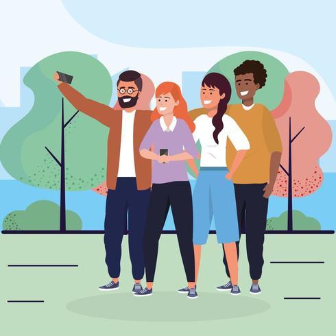 amis femmes et hommes avec smartphone et arbres vecteur