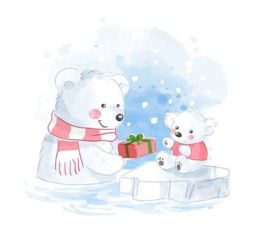 famille d'ours polaires avec illustration actuelle vecteur