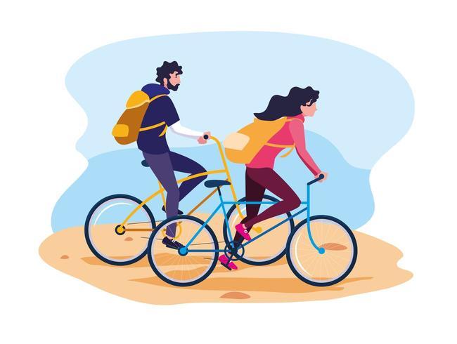 jeune couple, équitation, vélo, avatar, caractère vecteur