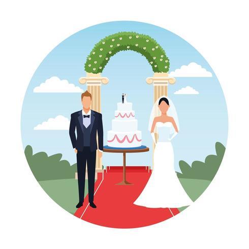caricature de couple mariage avec gâteau vecteur