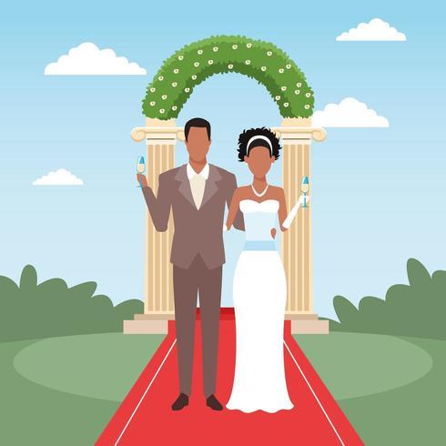 couple de mariage sur tapis rouge vecteur