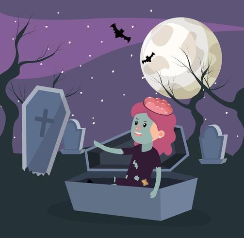Halloween et fille vecteur