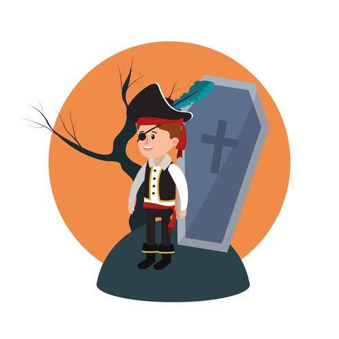 Garçon pirate Halloween vecteur