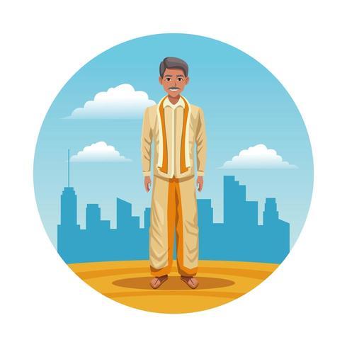 indien, inde, homme, rond, icône, dessin animé vecteur