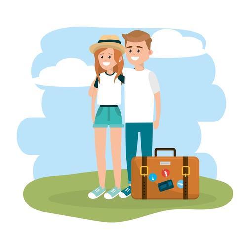couple femme et homme avec porte-documents voyage vecteur