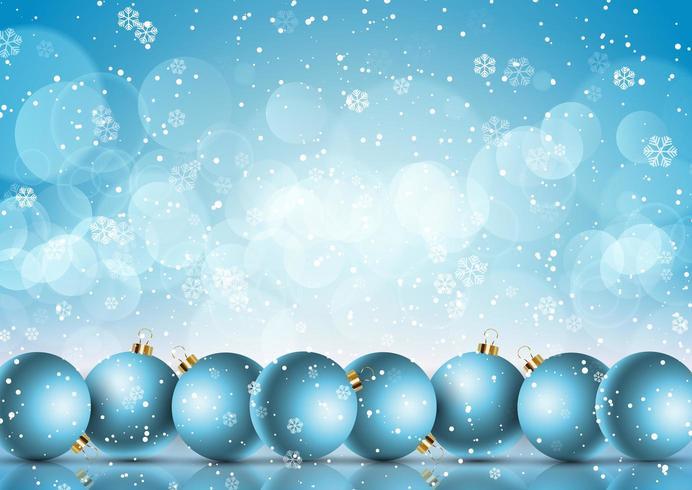 Boules de Noël sur fond de flocon de neige vecteur