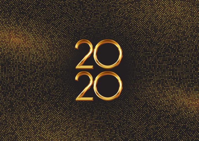 Fond de bonne année avec des points et des chiffres d'or vecteur