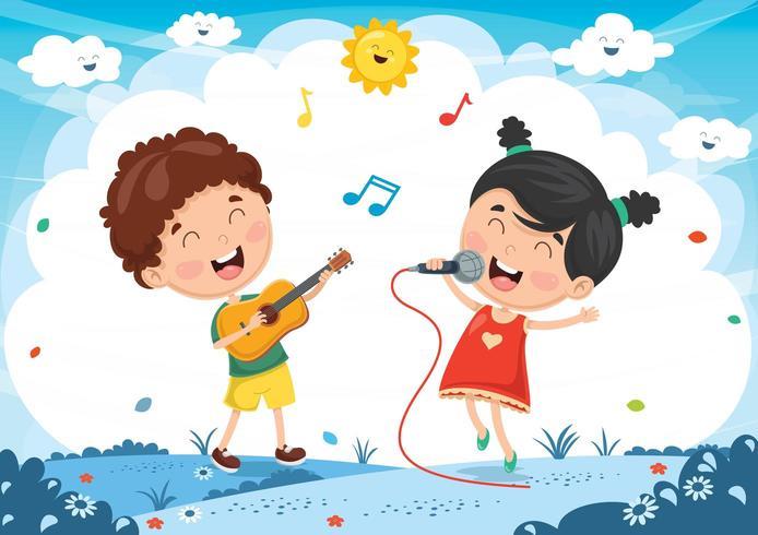 Enfants jouant de la musique et chantant vecteur