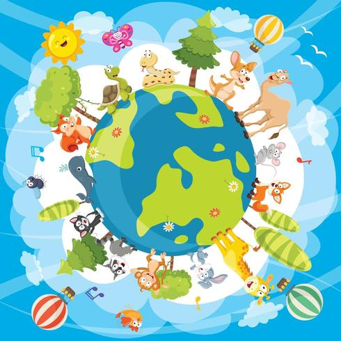 Illustration des animaux du monde vecteur