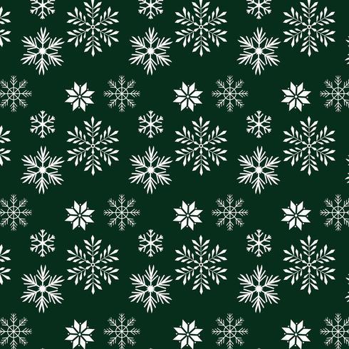 flocons de neige sur fond vert design vecteur