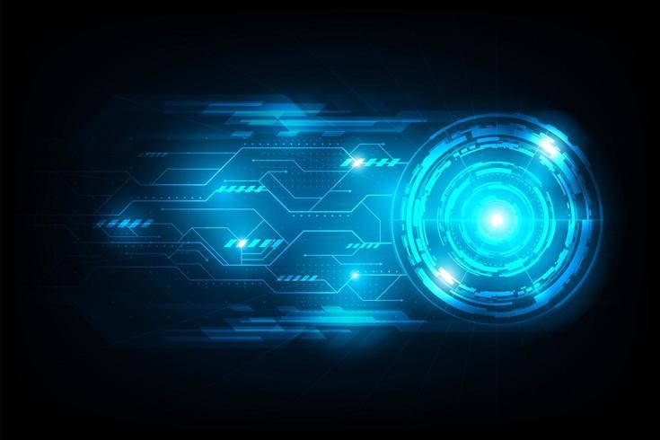 Connexion de cercle abstrait futuriste avec circuit lumineux flare vecteur