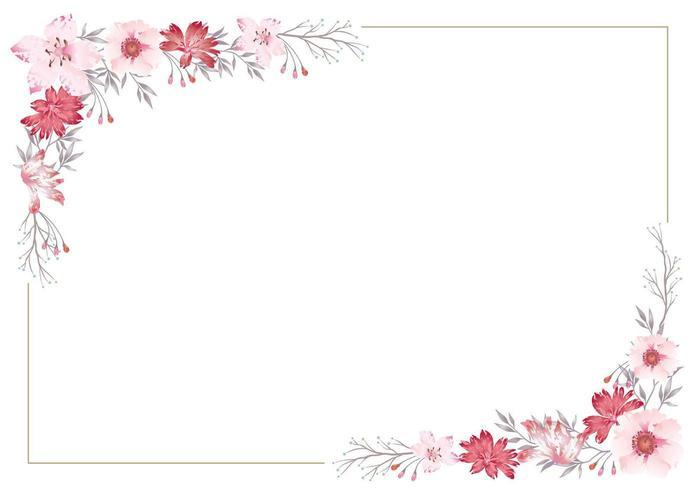 Cadre floral rose sur fond blanc vecteur