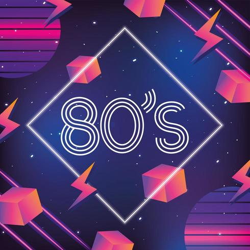 style néon géométrique avec fond des années 80 vecteur