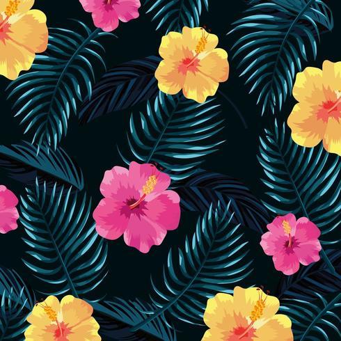 fleurs tropicales avec fond de plantes feuilles vecteur