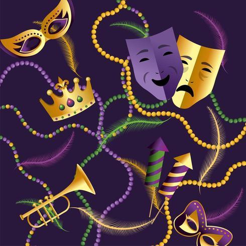 couronne avec masques et trompette pour Mardi gras vecteur