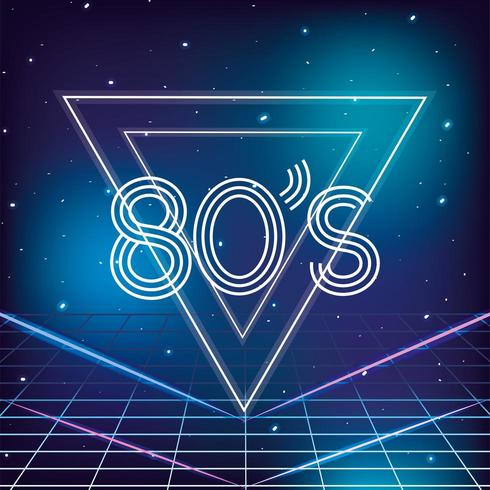 style rétro géométrique des années 80 avec fond d'étoiles galaxies vecteur