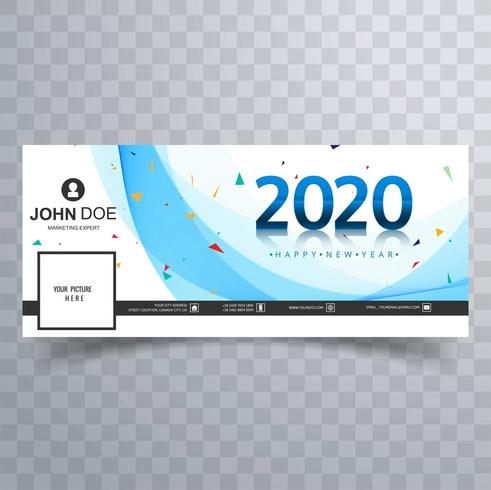 Bannière de couverture des médias sociaux bleu et confettis du nouvel an 2020 vecteur