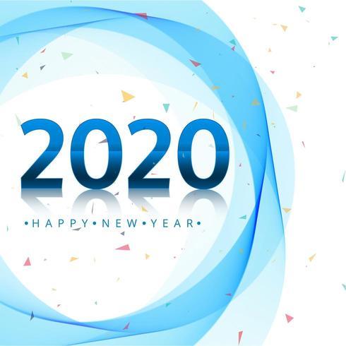 Conception de vacances Happy New Year 2020 avec cercles bleus et confettis vecteur