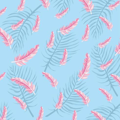 plumes flamandes avec des plantes feuilles fond vecteur