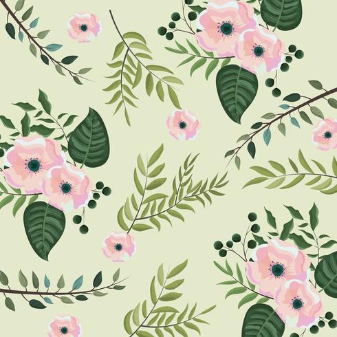 fleurs tropicales avec branches feuilles fond vecteur