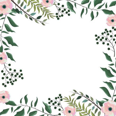 carte avec fleurs plantes et branches feuilles vecteur