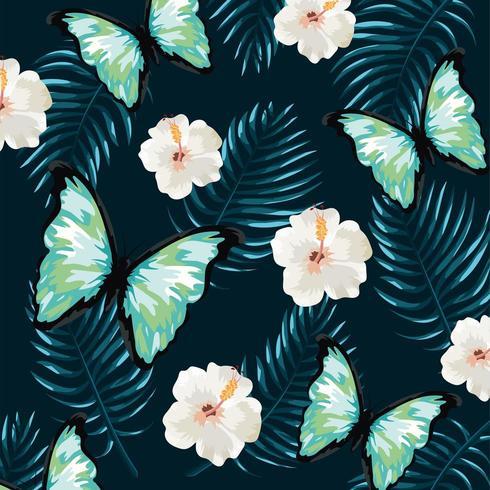 papillon avec fleurs tropicales et fond de feuilles vecteur