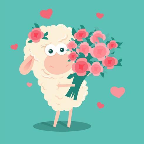 Moutons de dessin animé avec un bouquet de roses vecteur