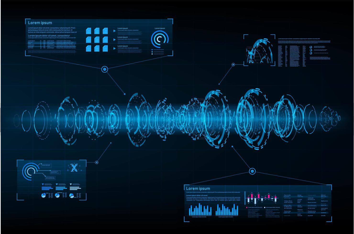 Onde sonore futuriste abstraite avec lumière parasite vecteur