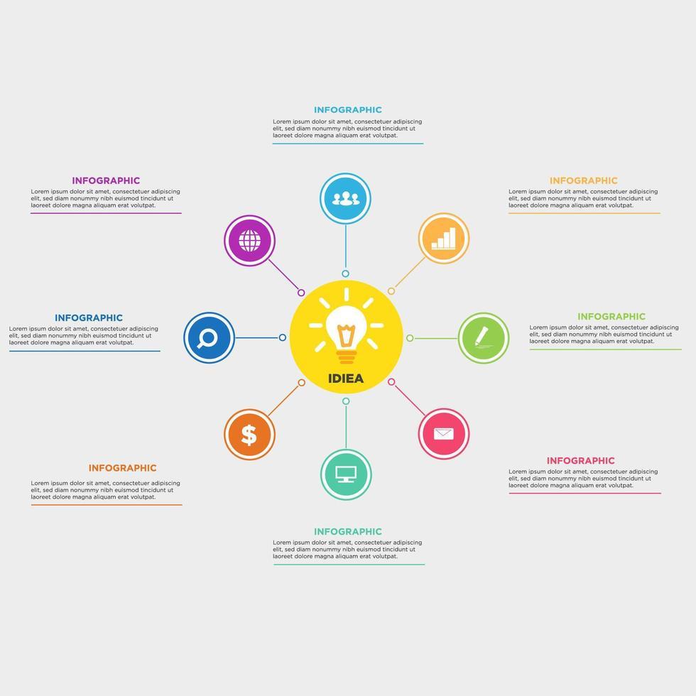 Infographie d'affaires cercle moderne vecteur