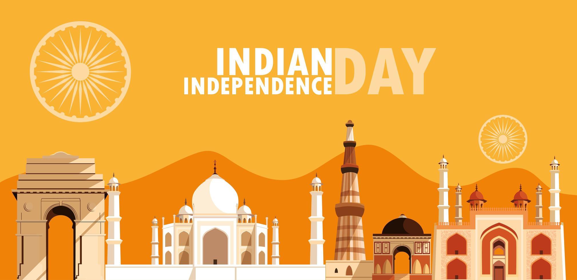 affiche de la fête de l'indépendance indienne avec groupe de bâtiments vecteur