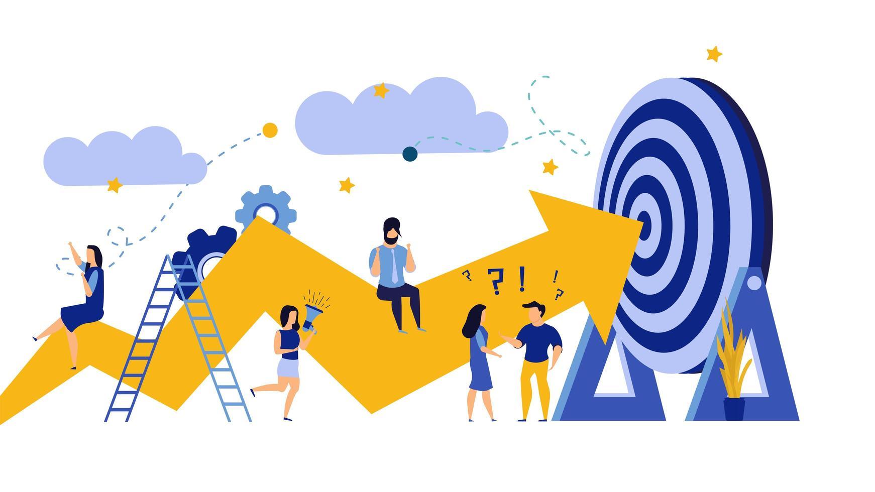 Illustration de défi de progrès commercial vecteur