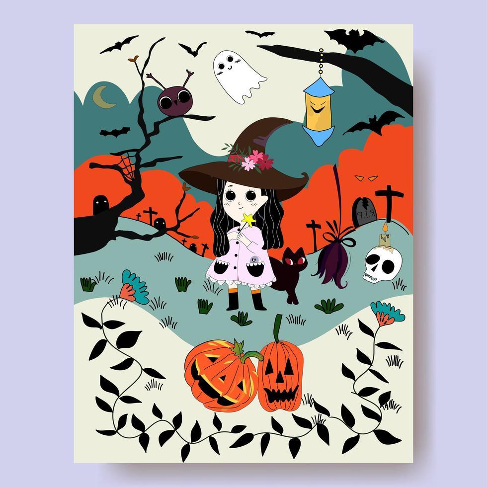 Dessin animé de sorcière et nuit d'halloween vecteur
