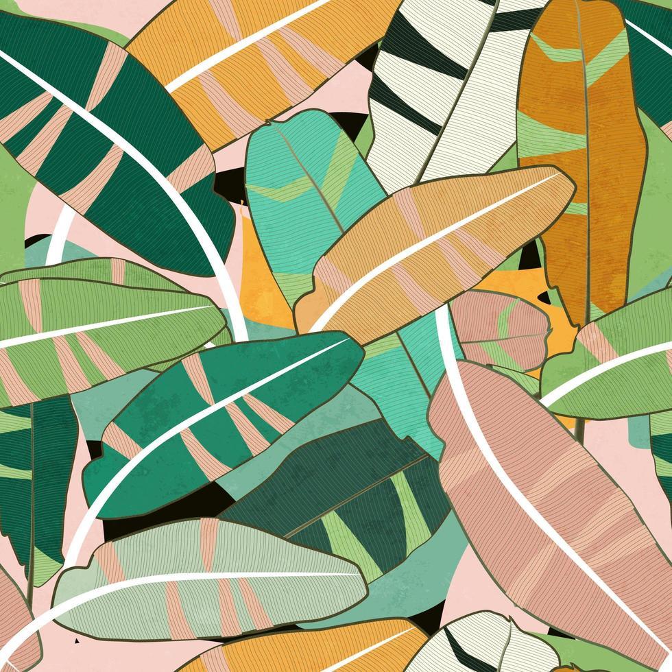 Modèle sans couture de feuilles colorées vecteur