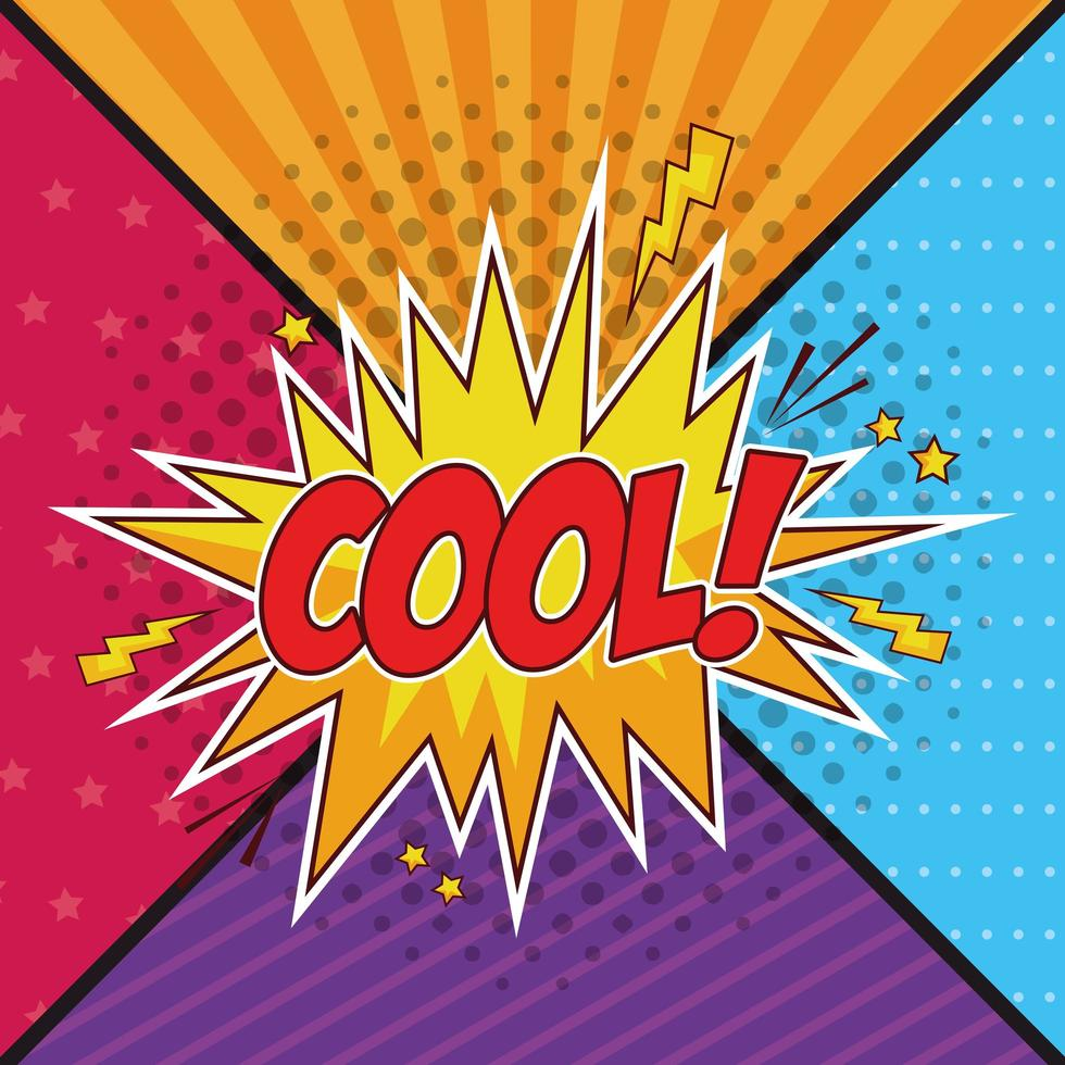 Texte pop art cool dans une bulle sur fond coloré vecteur