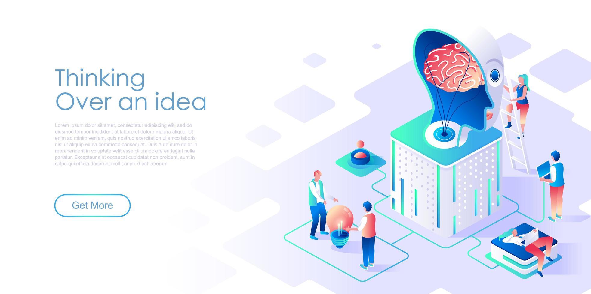 Réflexion sur le modèle de vecteur de page de destination isométrique d'idée