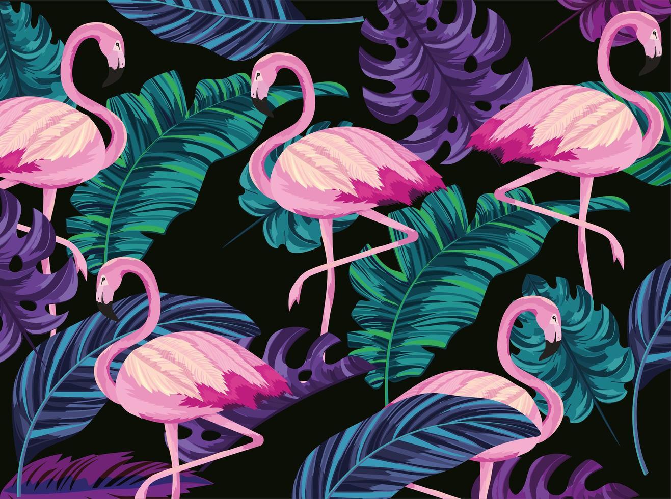 flamants exotiques et fond de feuilles tropicales vecteur