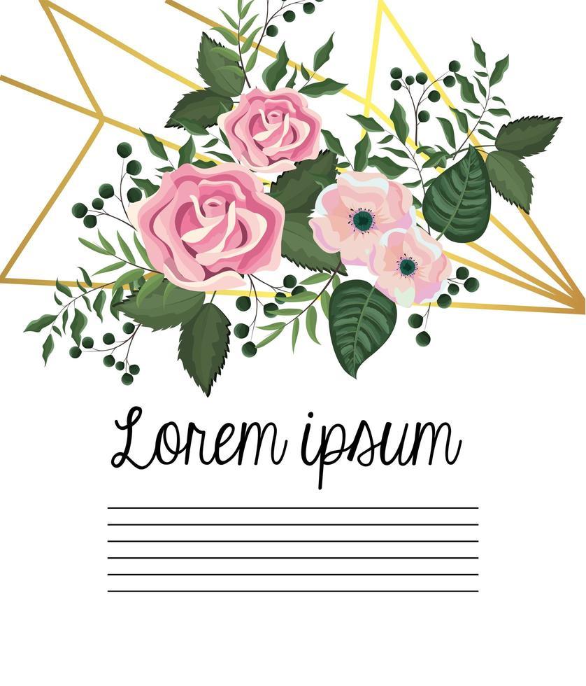 Carte avec roses et fleurs vecteur