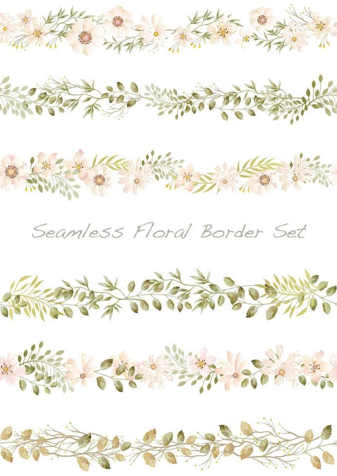 Ensemble de bordure florale aquarelle transparente. Répétable horizontalement. vecteur